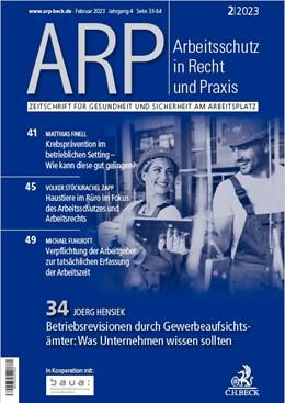 Abbildung von ARP • Arbeitsschutz in Recht und Praxis | 1. Jahrgang | 2020 | Zeitschrift für Gesundheit und...