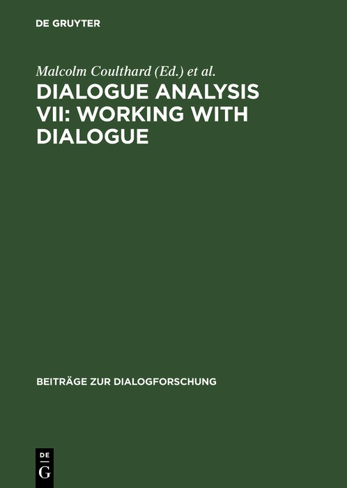 Abbildung von Coulthard / Cotterill / Rock | Dialogue Analysis VII: Working with Dialogue | 2000