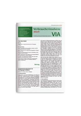 Abbildung von VIA • Verbraucherinsolvenz aktuell | 12. Jahrgang | 2020