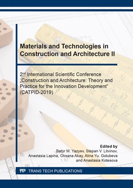 Abbildung von Yazyev / Litvinov / Lapina / Oksana / Golubeva / Kotesova | Materials and Technologies in Construction and Architecture II | 2020 | Volume 974