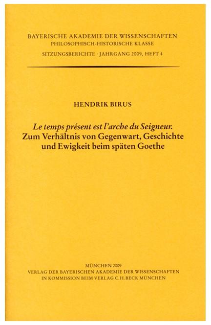 Cover: Hendrik Birus, 'Le temps présent est l'arche du Seigneur'