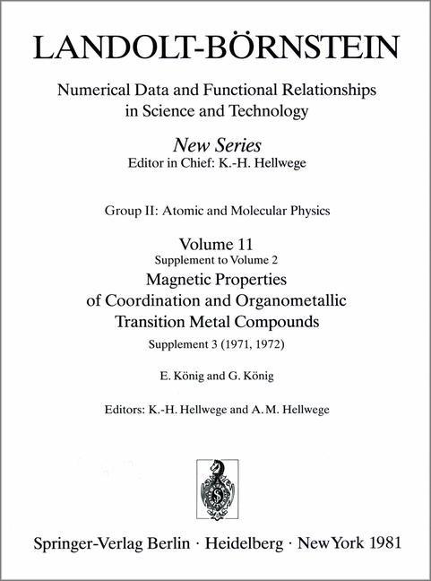 Abbildung von König / Hellwege | Magnetic Properties of Coordination and Organometallic Transition Metal Compounds / Magnetische Eigenschaften der Koordinations- und metallorganischen Verbindungen der Übergangselemente | 1980