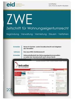 Abbildung von ZWE • Zeitschrift für Wohnungseigentumsrecht | 21. Jahrgang | 2020 | Begründung, Verwaltung, Vermie...
