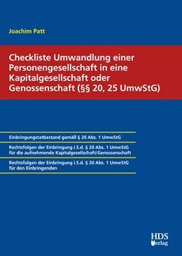 Abbildung von Patt | Checkliste Umwandlung einer Personengesellschaft in eine Kapitalgesellschaft oder Genossenschaft (§§ 20, 25 UmwStG) | 1. Auflage | 2020 | beck-shop.de