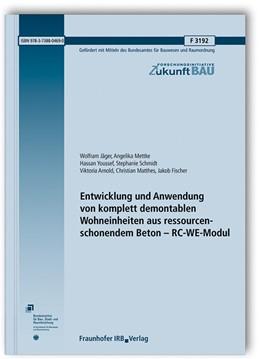 Abbildung von Jäger / Mettke   Entwicklung und Anwendung von komplett demontablen Wohneinheiten aus ressourcenschonendem Beton - RC-WE-Modul.   1. Auflage   2020   beck-shop.de