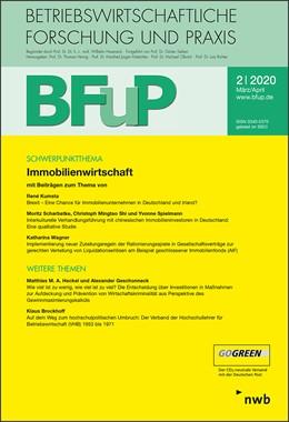 Abbildung von Immobilienwirtschaft BFuP 2/2020   1. Auflage   2020   beck-shop.de