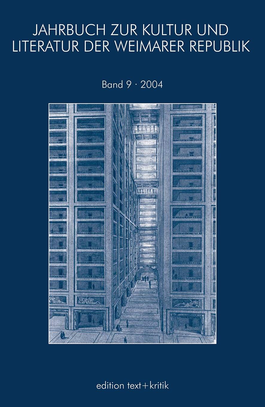 JAHRBUCH ZUR KULTUR UND LITERATUR DER WEIMARER REPUBLIK, 2005   Buch (Cover)