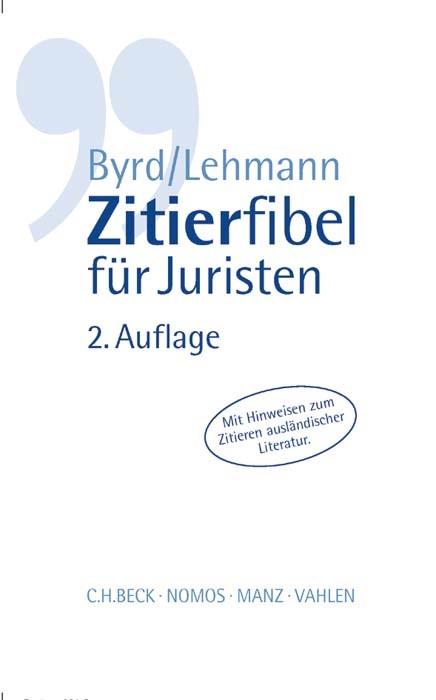 Zitierfibel für Juristen | Byrd / Lehmann | 2. Auflage, 2016 | Buch (Cover)