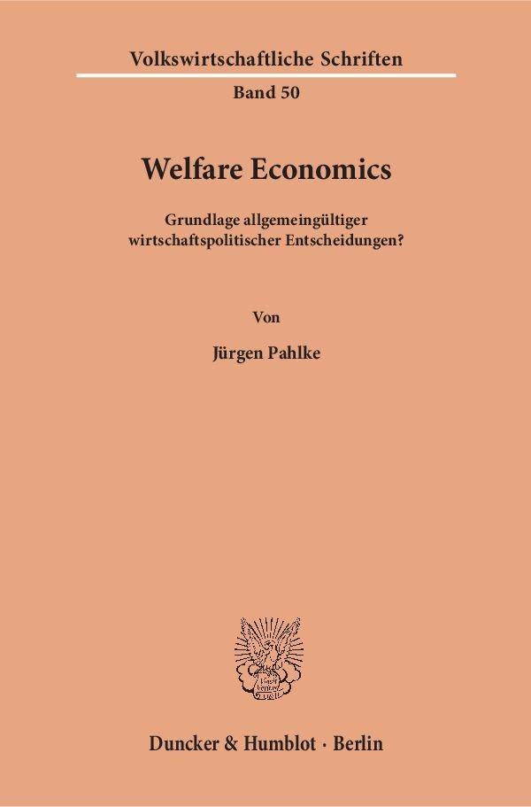 Abbildung von Pahlke | Welfare Economics | 1960