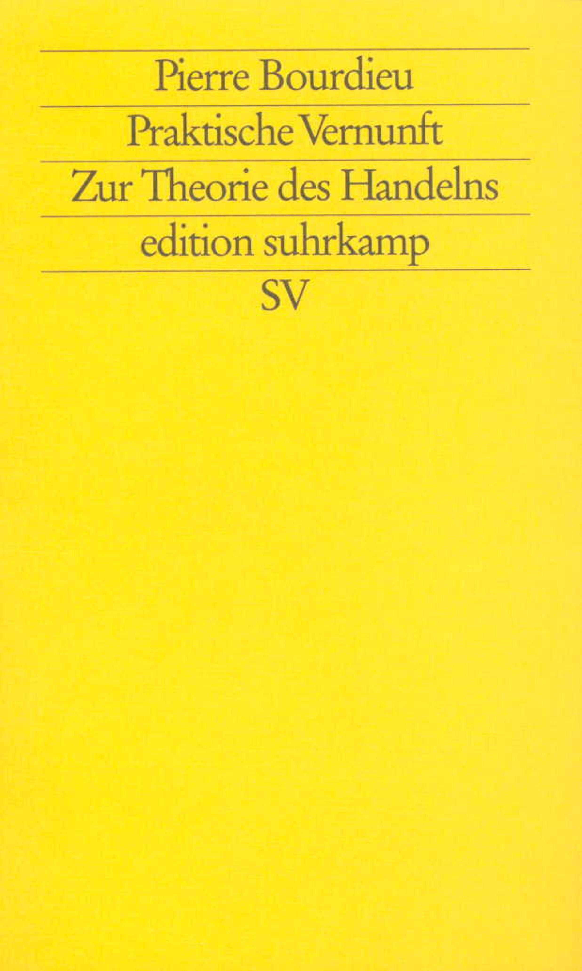Praktische Vernunft | Bourdieu, 1998 | Buch (Cover)
