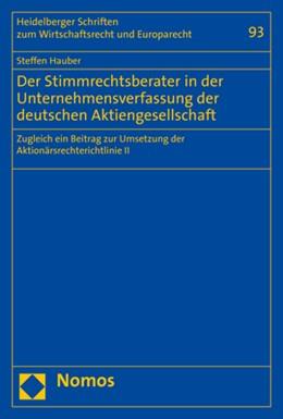 Abbildung von Hauber | Der Stimmrechtsberater in der Unternehmensverfassung der deutschen Aktiengesellschaft | 1. Auflage | 2020 | 93 | beck-shop.de