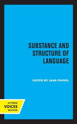 Abbildung von Puhvel | Substance and Structure of Language | 1. Auflage | 2020 | beck-shop.de