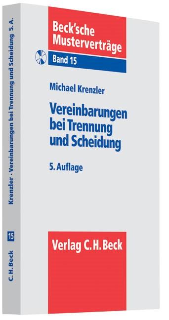 Abbildung von Krenzler | Vereinbarungen bei Trennung und Scheidung | 5., überarbeitete Auflage | 2013