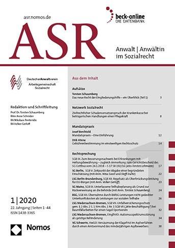 ASR - Anwalt / Anwältin im Sozialrecht | 20. Jahrgang (Cover)