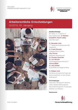 Abbildung von AE • Arbeitsrechtliche Entscheidungen   29. Jahrgang   2019