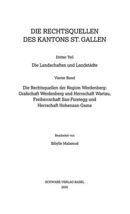 Abbildung von Malamud   Sammlung Schweizerischer Rechtsquellen / Die Rechtsquellen der Region Werdenberg   1. Auflage   2020   4   beck-shop.de