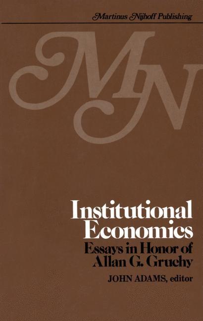 Institutional Economics | Adams, 1980 | Buch (Cover)