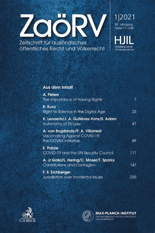 Abbildung von ZaöRV • Zeitschrift für ausländisches öffentliches Recht und Völkerrecht   79. Jahrgang   2019