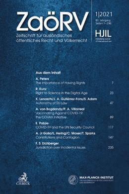 Abbildung von ZaöRV • Zeitschrift für ausländisches öffentliches Recht und Völkerrecht   80. Jahrgang   2020   Heidelberg Journal of Internat...