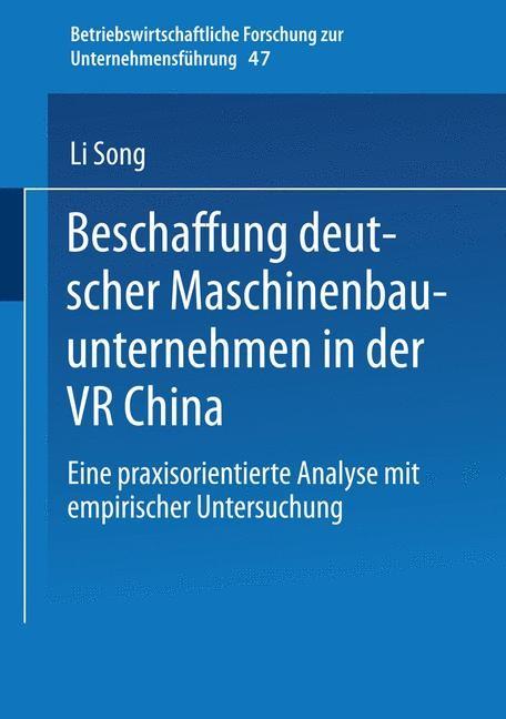 Abbildung von Song | Beschaffung deutscher Maschinenbauunternehmen in der VR China | 2004