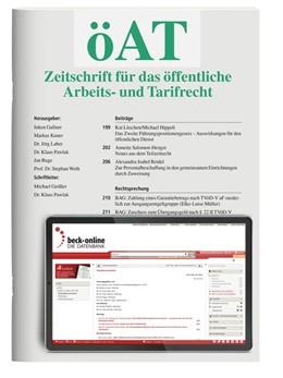 Abbildung von öAT • Zeitschrift für das öffentliche Arbeits- und Tarifrecht | 11. Jahrgang | 2020