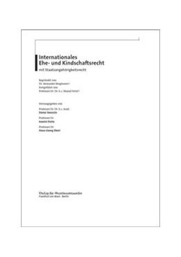 Abbildung von Henrich / Dutta   Internationales Ehe- und Kindschaftsrecht mit Staatsangehörigkeitsrecht   1. Auflage   2020   beck-shop.de