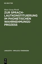 Abbildung von Piroth | Zur Sprachlautkonstituierung im phonetischen Wahrnehmungsprozess | Reprint 2011 | 2005