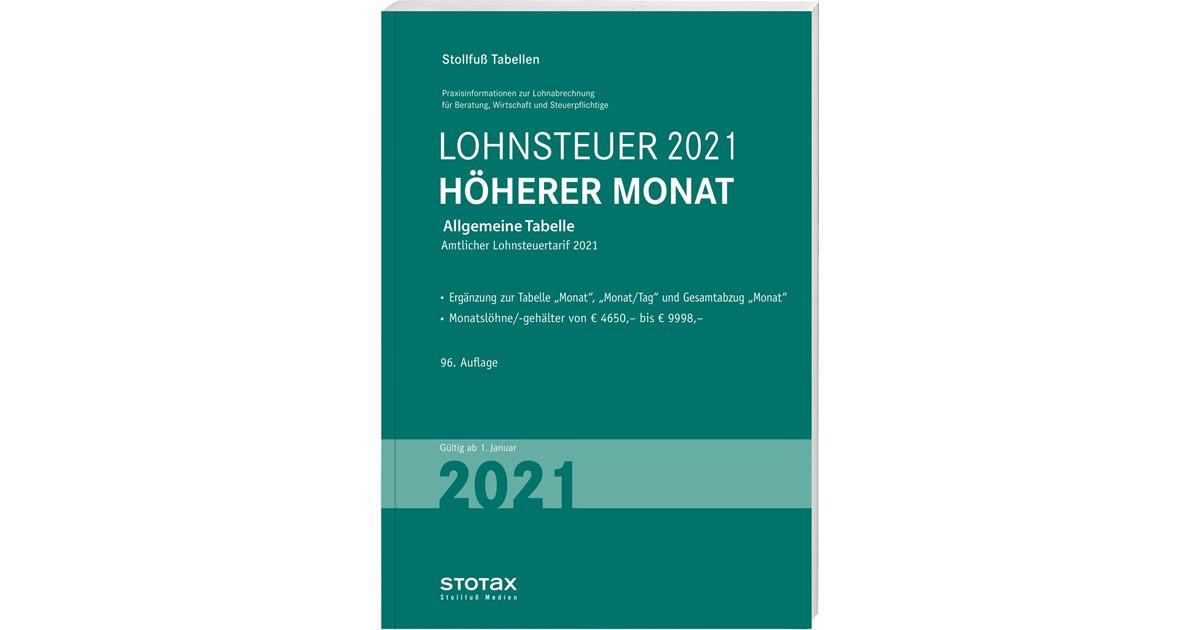 Tabelle, Lohnsteuer 2021 Höherer Monat   96. Auflage ...