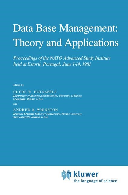 Abbildung von Holsapple / Whinston | Data Base Management: Theory and Applications | 1982