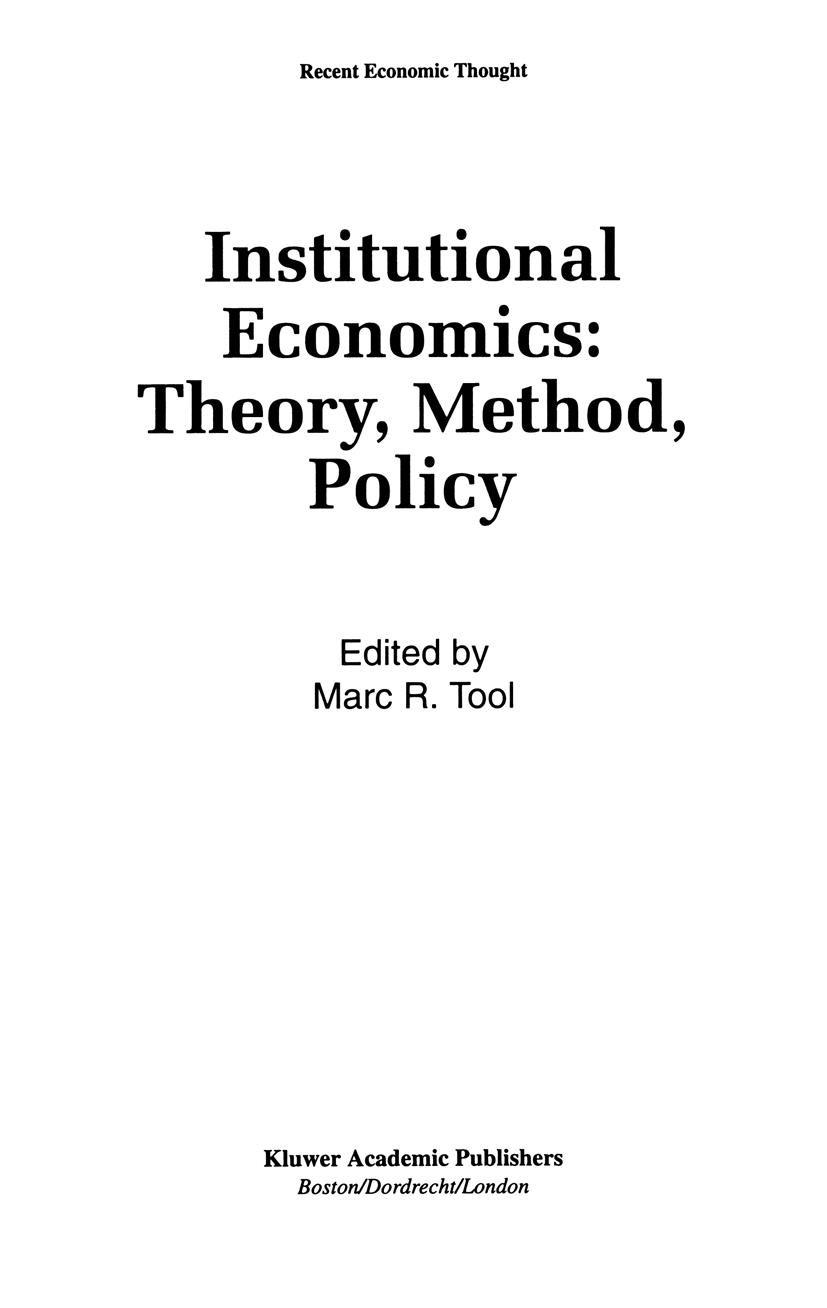 Abbildung von Tool | Institutional Economics: Theory, Method, Policy | 1993