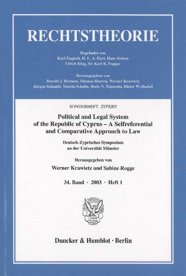 Abbildung von Krawietz / Rogge | Political and Legal System of the Republic of Cyprus – A Selfreferential and Comparative Approach to Law. | 2003