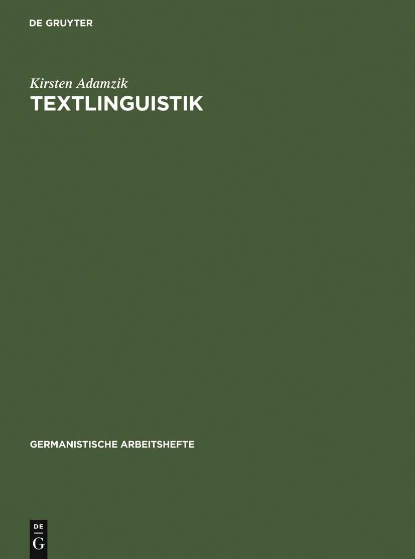 Textlinguistik | Adamzik, 2004 | Buch (Cover)