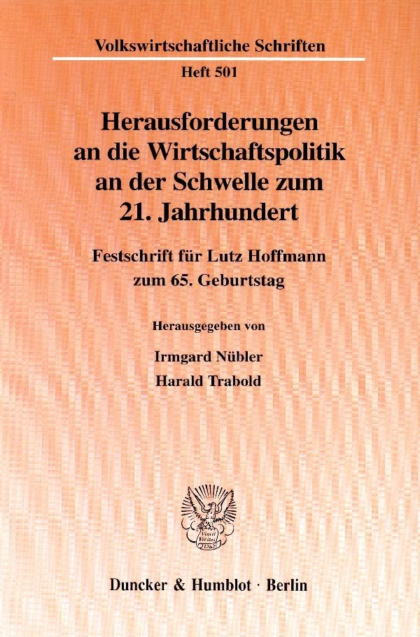 Abbildung von Nübler / Trabold | Herausforderungen an die Wirtschaftspolitik an der Schwelle zum 21. Jahrhundert. | 1999