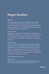 Abbildung von Nicolin / Pöggeler   Hegel-Studien / Hegel-Studien Band 25 (1990)   2016