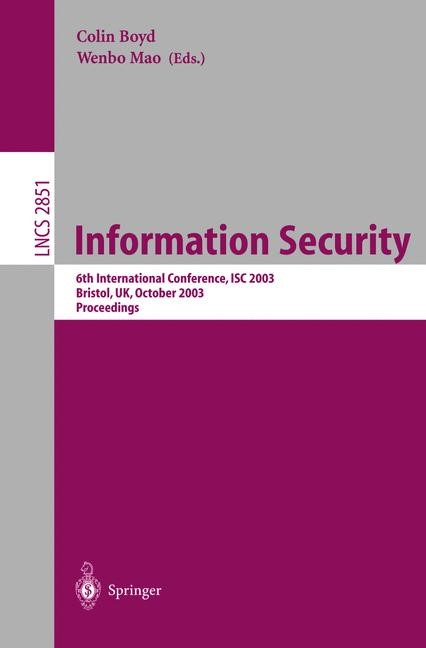 Information Security | Boyd / Mao, 2003 | Buch (Cover)