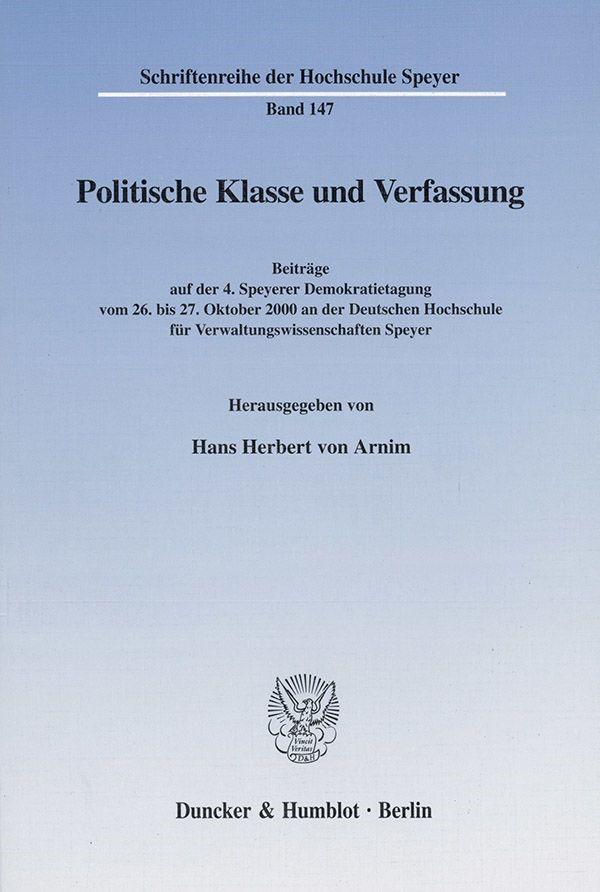 Abbildung von Arnim | Politische Klasse und Verfassung. | 2001