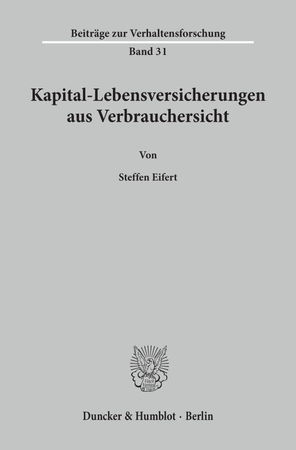 Abbildung von Eifert | Kapital-Lebensversicherungen aus Verbrauchersicht. | 1997