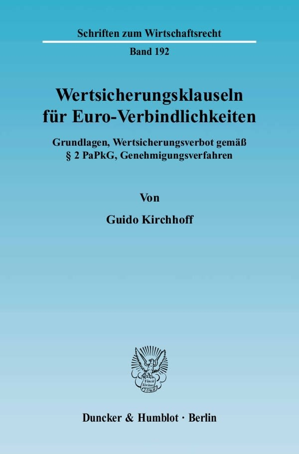 Abbildung von Kirchhoff   Wertsicherungsklauseln für Euro-Verbindlichkeiten   2005