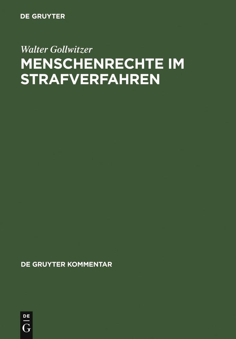 Abbildung von Gollwitzer | Menschenrechte im Strafverfahren | Reprint 2011 | 2005