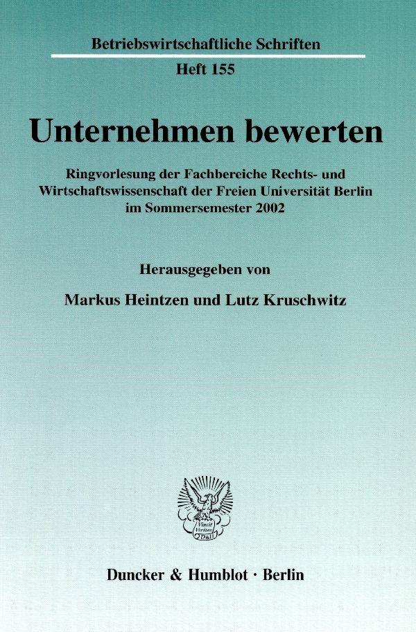 Abbildung von Heintzen / Kruschwitz   Unternehmen bewerten.   2003