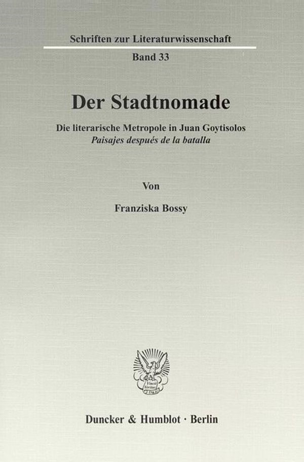 Der Stadtnomade | Bossy, 2009 | Buch (Cover)