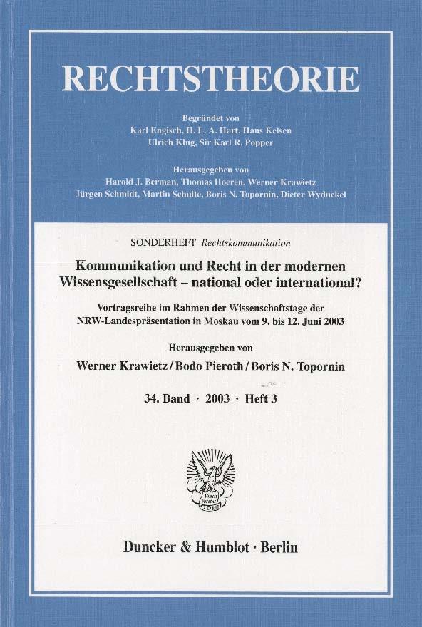 Abbildung von Krawietz / Pieroth / Topornin   Kommunikation und Recht in der modernen Wissensgesellschaft – national oder international?   2003