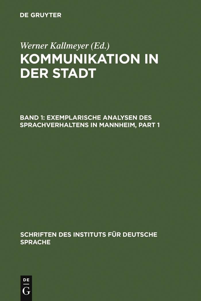 Exemplarische Analysen des Sprachverhaltens in Mannheim | Kallmeyer | Reprint 2011, 1994 | Buch (Cover)