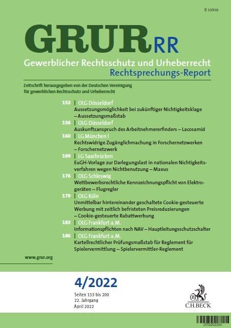 GRUR-RR • Gewerblicher Rechtsschutz und Urheberrecht Rechtsprechungs-Report | 18. Jahrgang (Cover)