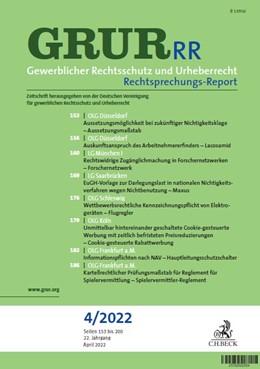 Abbildung von GRUR-RR • Gewerblicher Rechtsschutz und Urheberrecht Rechtsprechungs-Report | 18. Auflage | 2021 | beck-shop.de