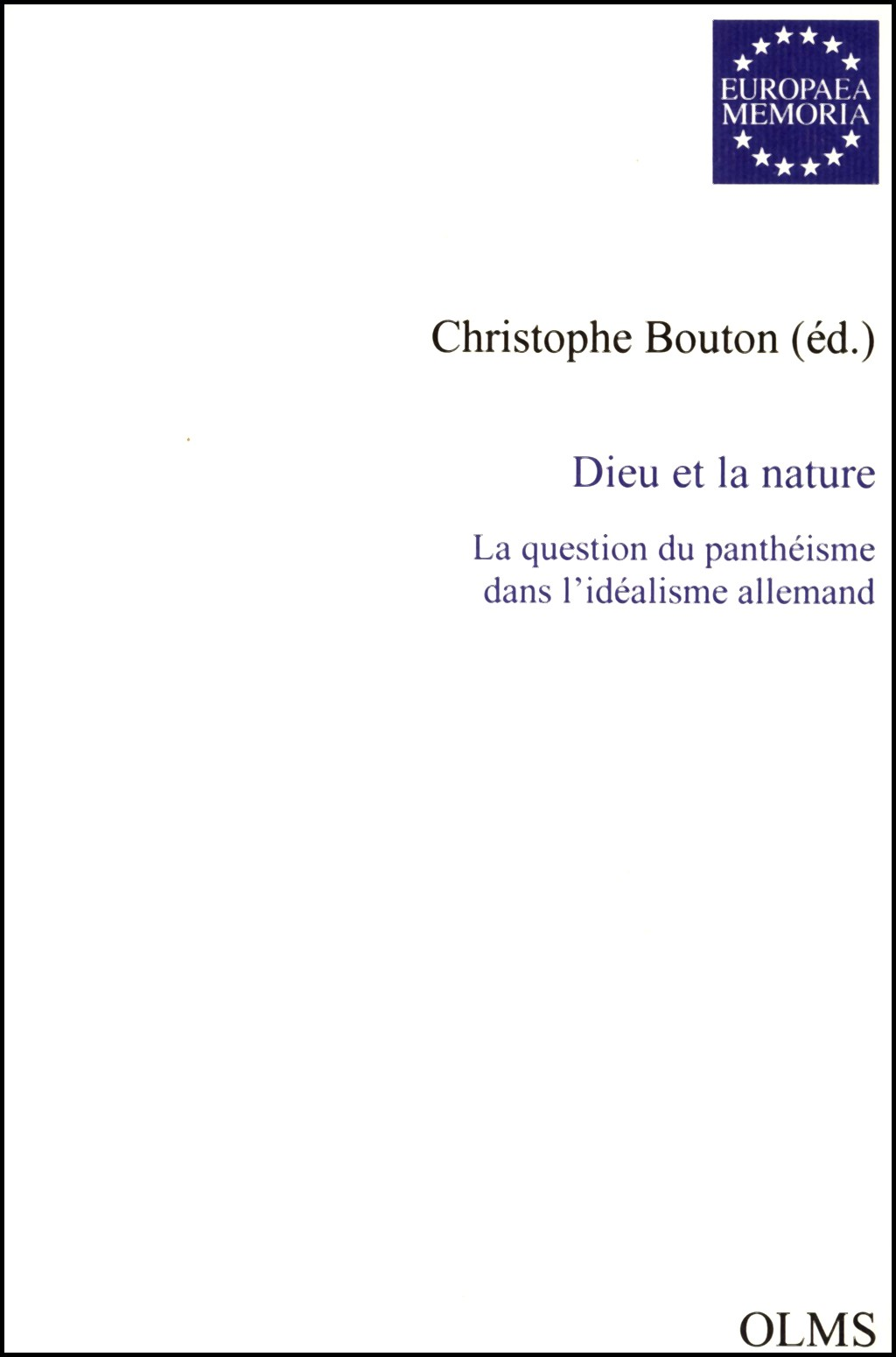 Dieu de la nature   Bouton, 2005   Buch (Cover)