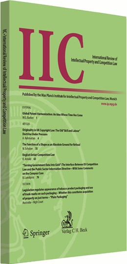 Abbildung von IIC - International Review of Intellectual Property and Competition Law | 1. Auflage | | beck-shop.de