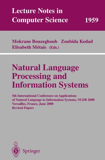 Natural Language Processing and Information Systems | Bouzeghoub / Kedad / Metais, 2001 | Buch (Cover)