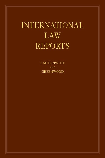 Abbildung von Lauterpacht / Greenwood | International Law Reports | 1995