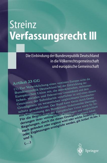 Verfassungsrecht III | Streinz | 2016, 2019 | Buch (Cover)